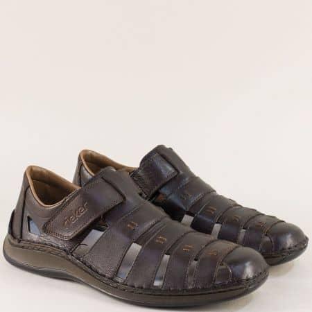 Тъмно кафяви мъжки сандали на шито ходило- Rieker 05279kk