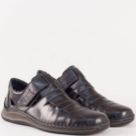 Швейцарски мъжки обувки с отвори и лепка в черен цвят- Rieker от естествена кожа изцяло 05282ch