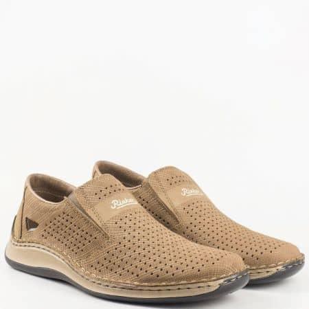 Ежедневни мъжки обувки Rieker, от висококачествен естествен набук  05289nk