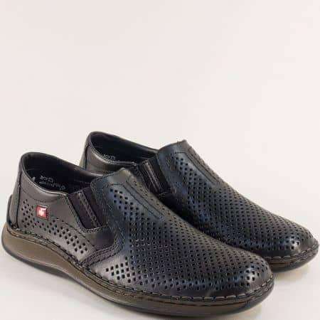 Мъжки обувки в черен цвят от естествена кожа с перфорация- RIEKER 05297ch