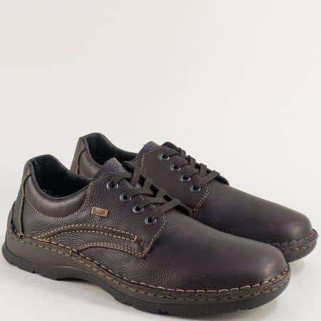 Тъмно кафяви мъжки обувки от естествена кожа- RIEKER 05310kk