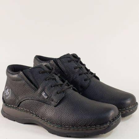 Шити мъжки боти от естестевна кожа в черен цвят- Rieker 05334ch