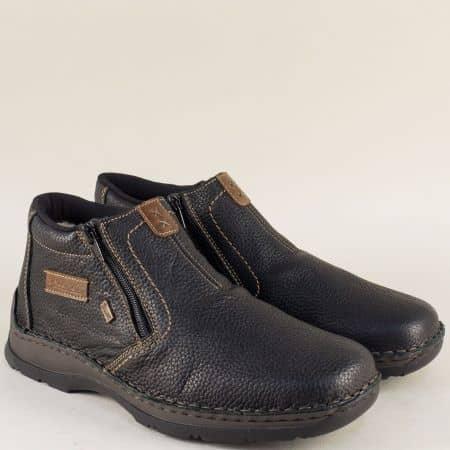 Шити мъжки боти от черна естествена кожа с два ципа 05392ch