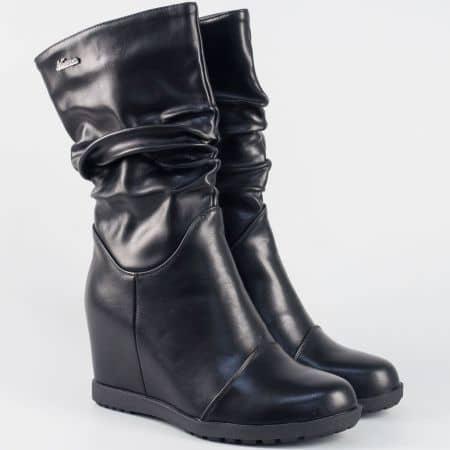 Модерна дамска бота на клин ходило- Eliza в черен цвят 056288ch