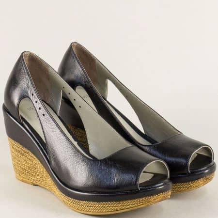Черни дамски обувки от естествена кожа на платформа 0573ch