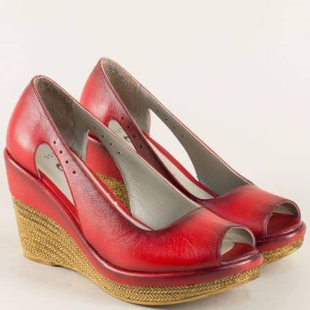 Кожени дамски обувки с отворени пръсти в червен цвят 0573chv