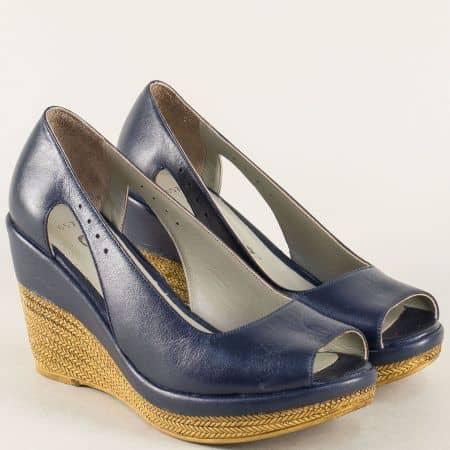 Сини дамски обувки с отворени пръсти на платформа 0573s