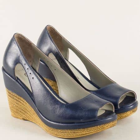 Сини дамски обувки от естествена кожа на платформа 0573s