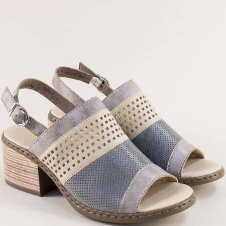 Дамски сандали в бежово, сиво и синьо на среден ток 0575sps