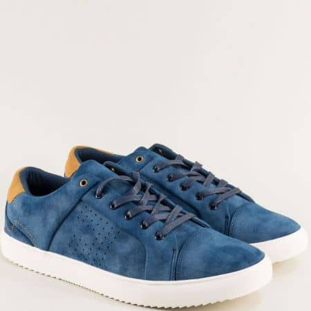 Сини мъжки кецове на бяло ходило- MAT STAR 059209s