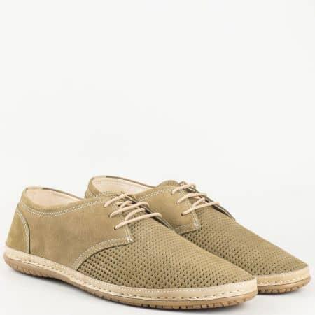Перфорирани мъжки обувки в бежов цвят с връзки от естествен набук и кожа изцяло- български производител 0601nbj