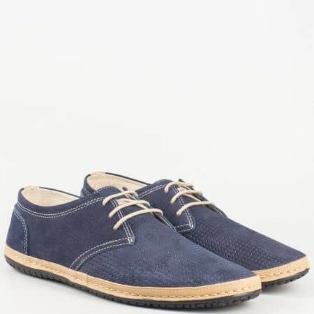 Български мъжки обувки с връзки и перфорация от естествен набук и кожа изцяло в синьо и кафяво 0601ns