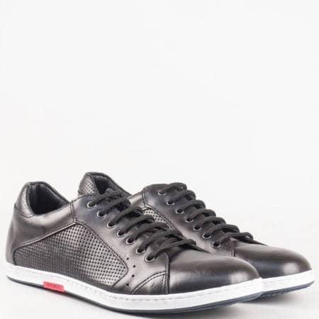 Шити мъжки обувки за всеки ден с връзки от черна естествена кожа изцяло- български производител 0604ch