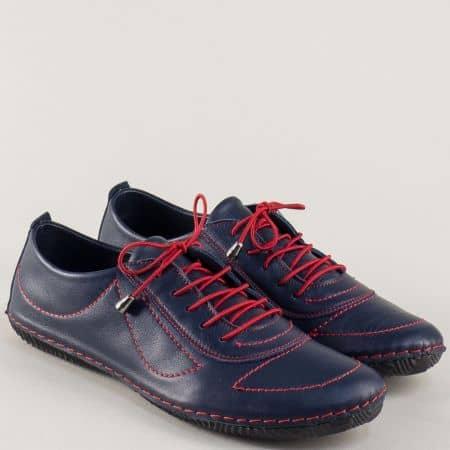 Сини дамски обувки с червени ластични връзки  m061s