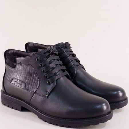 Кожени мъжки боти с цип, връзки и грайфер в черен цвят 0630ch