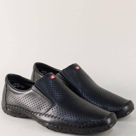 Перфорирани мъжки обувки от черна естествена кожа 06376ch