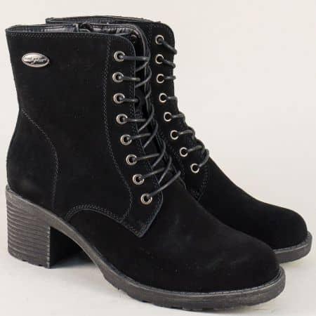 Велурени дамски боти с връзки и цип в черен цвят 064078vch