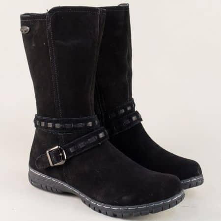 Шити дамски боти в черен цвят от естествен велур 064082vch