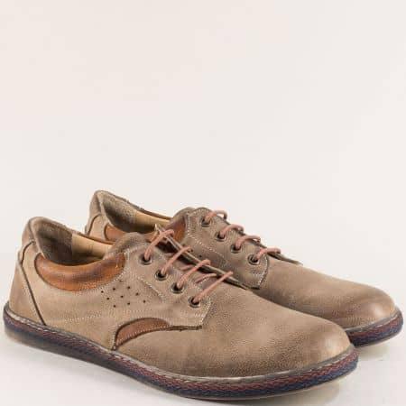 Мъжки обувки с връзки от естествена кожа в бежов цвят 0651045bjk