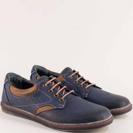Мъжки обувки с връзки от естествена кожа в син цвят 0651045sk