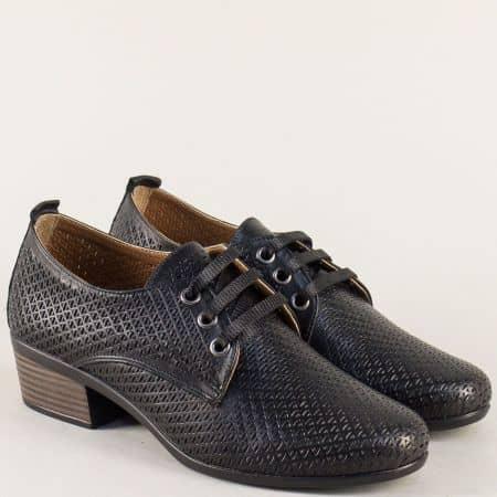 Черни дамски обувки от естествена кожа с перфорация 06510ch