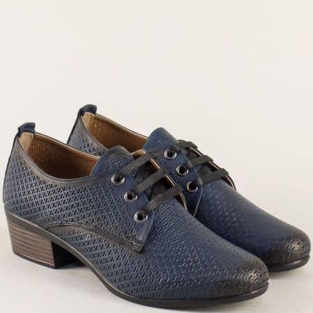 Тъмно сини дамски обувки с връзки и кожена стелка 06510s