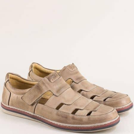 Кожени мъжки обувки с прорези и лепка в бежов цвят 0661045bj