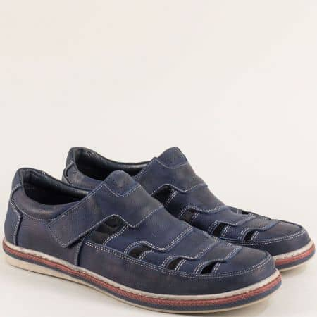Мъжки обувки от естествена кожа с прорези в син цвят 0661045s