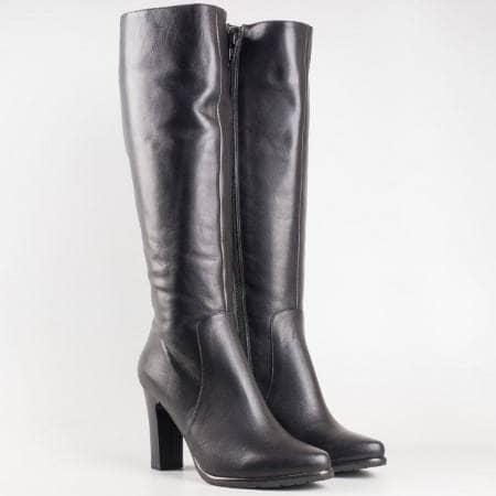 Дамски елегантни ботуши на висок ток от черна естествена кожа 0694ch
