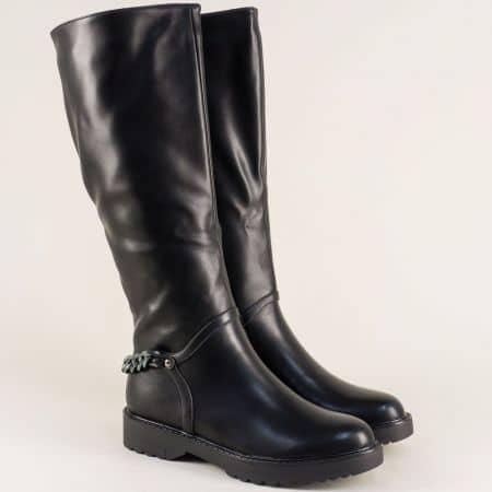 Дамски ботуши на платформа в черен цвят 071134ch