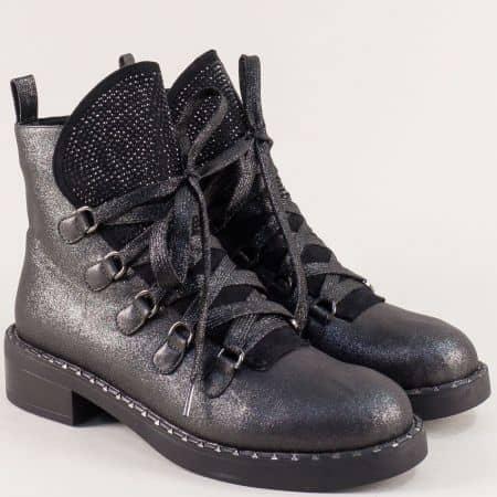Черни дамски боти с връзки на нисък ток- MAT STAR 071192sch