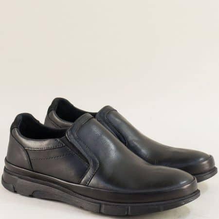 Кожени мъжки обувки с два ластика в черен цвят 075ch