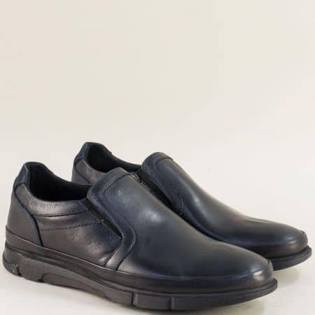 Кожени мъжки обувки в тъмно син цвят с два ластика 075s
