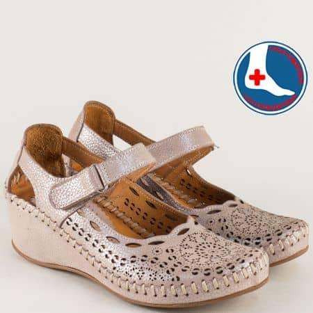 Ортопедични дамски обувки на клин ходило в бежов цвят  0800bj