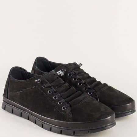 Равни мъжки обувки с връзки от естествен набук в черно 0801nch