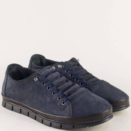 Мъжки обувки с връзки от естествен набук в син цвят 0801ns