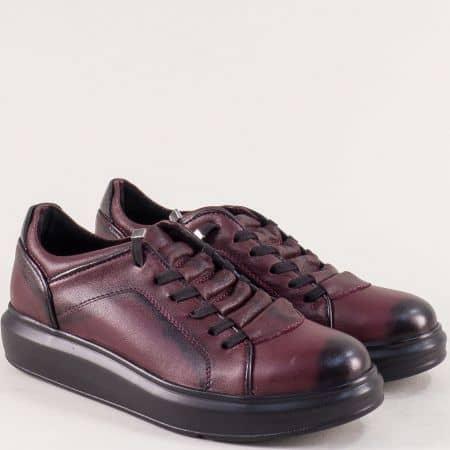 Кожени дамски обувки в цвят бордо с ластични връзки 0804bd