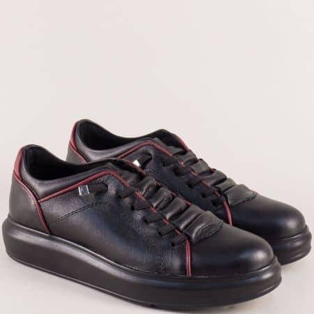 Кожени дамски обувки с ластични връзки в бордо и черно 0804chbd