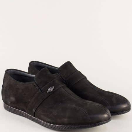Черни мъжки обувки с два ластика от естествен набук 0806nch