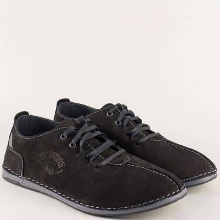 Равни мъжки обувки от естествен набук в черен цвят 0808nch