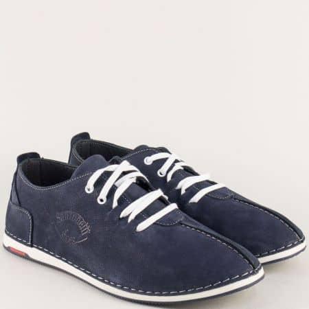 Сини мъжки обувки от естествен набук с бели връзки 0808ns