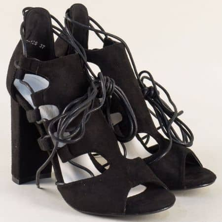 Модерни дамски сандали в черен цвят на висок ток 0812126vch