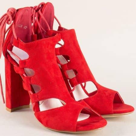 Червени дамски сандали на стабилен висок ток 0812126vchv