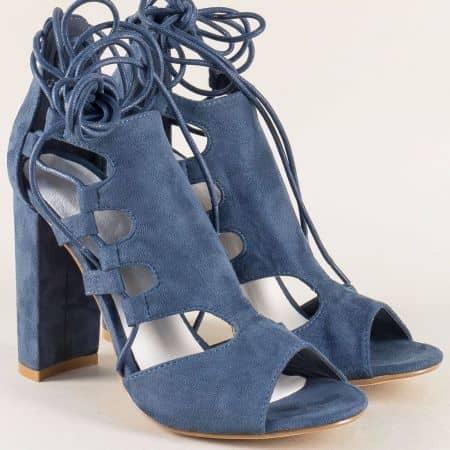 Дамски сандали в синьо с модерна визия на висок ток 0812126vs