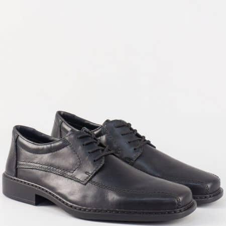 Класически мъжки обувки с връзки от черна естествена кожа- Rieker шити 0812ch