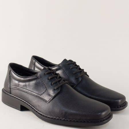 Кожени мъжки обувки с връзки в черен цвят- Rieker 0819ch