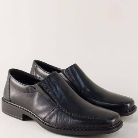 Кожени мъжки обувки в черен цвят с кожена стелка- Rieker 0872ch