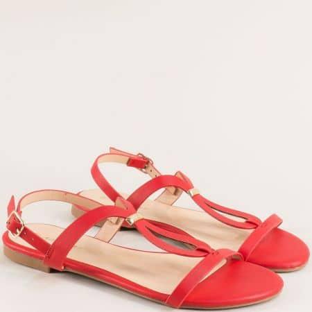 Червени дамски сандали на равно ходило 088057chv