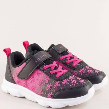 Детски маратонки с лепка в розово ичерно- MAT STAR 091150chck