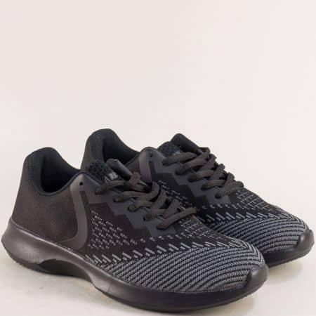 Ефектни дамски маратонки от черен текстил на комфортно ходило 091152-40ch